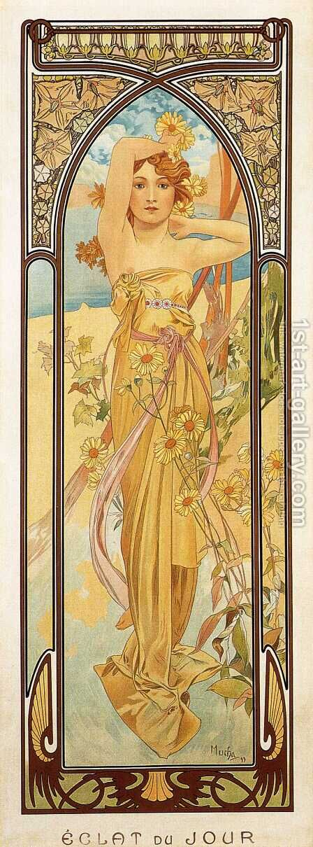 Brightness of Day. From The Times of the Day Series. 1899 by Alphonse Maria Mucha - Reproduction Oil Painting