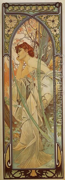 Evening Contemplation. From The Times of the Day Series. 1899 by Alphonse Maria Mucha - Reproduction Oil Painting