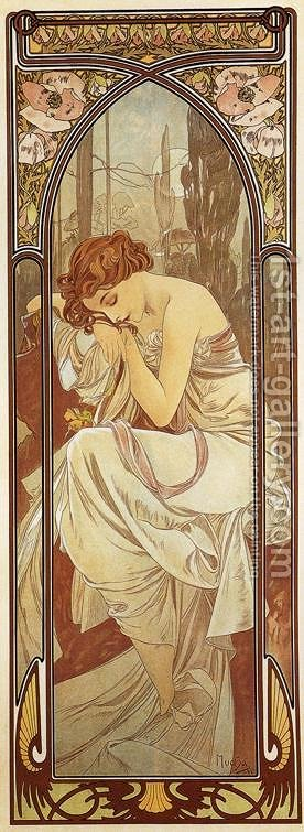 Night's Rest. From The Times of the Day Series. 1899 by Alphonse Maria Mucha - Reproduction Oil Painting