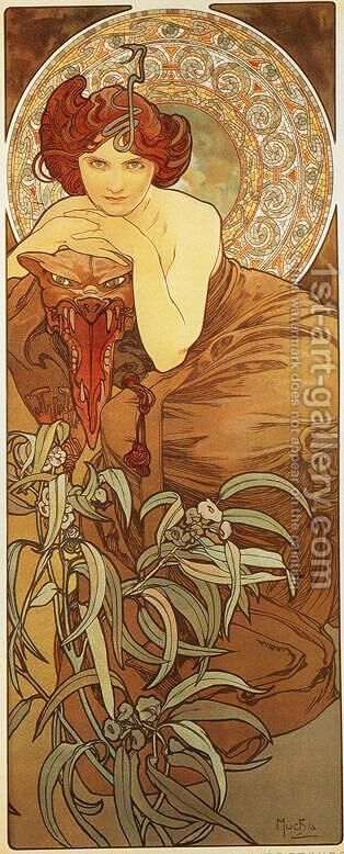 Emerald. From The Precious Stones Series. 1900 by Alphonse Maria Mucha - Reproduction Oil Painting