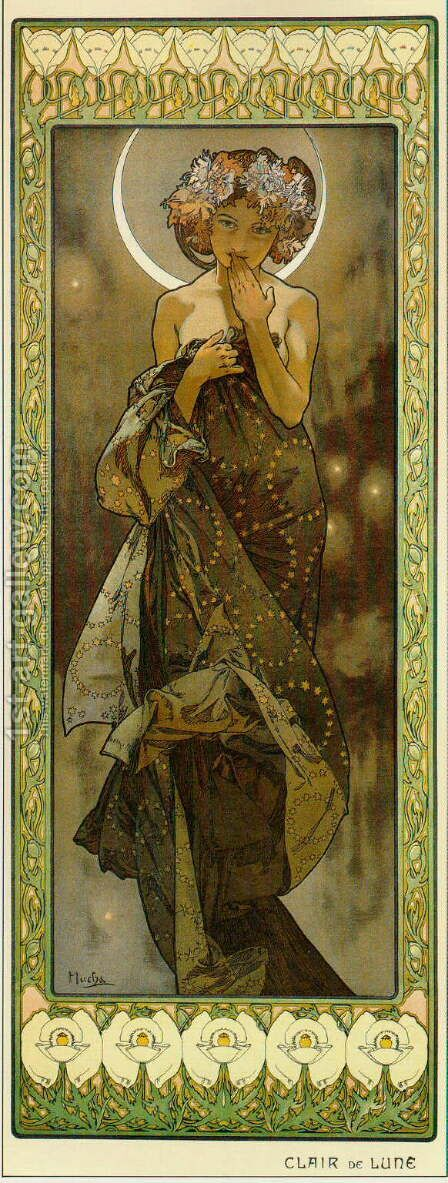 The Moon. From The Moon and the Stars Series. 1902 by Alphonse Maria Mucha - Reproduction Oil Painting