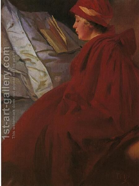 Red Coat, 1902 by Alphonse Maria Mucha - Reproduction Oil Painting