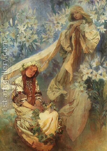 Madonna of the Lilies, 1905 by Alphonse Maria Mucha - Reproduction Oil Painting