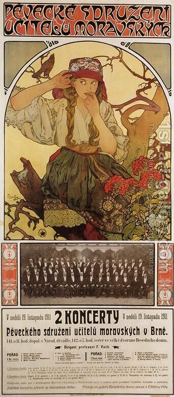 Moravian Teacher's Choir, 1911 by Alphonse Maria Mucha - Reproduction Oil Painting