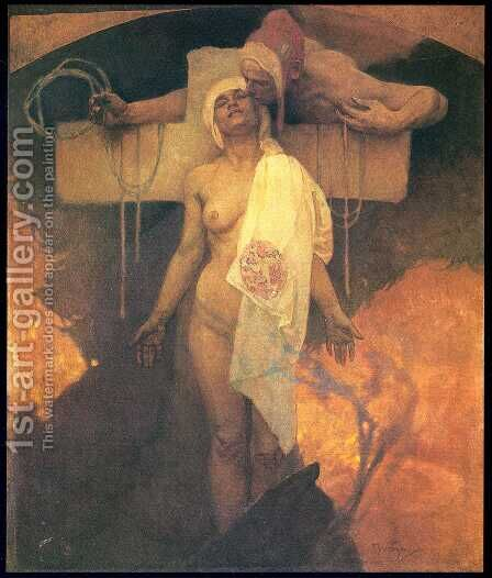 France Embraces Bohemia. c. 1918 by Alphonse Maria Mucha - Reproduction Oil Painting