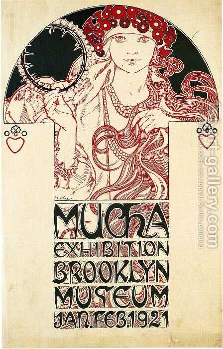 Poster for the Brooklyn Exhibition, 1921 by Alphonse Maria Mucha - Reproduction Oil Painting
