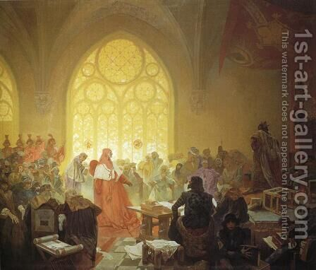 The Hussite King Jiri z Podebrad. 1925 by Alphonse Maria Mucha - Reproduction Oil Painting