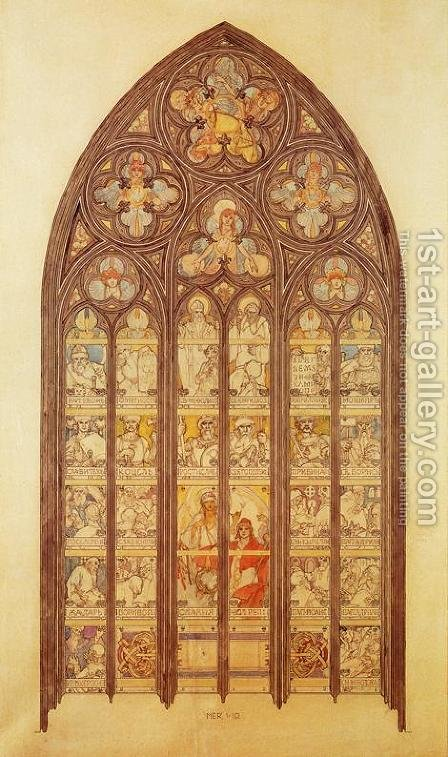Design for a stained-glass window in St. Vitus Cathedral, 1931 by Alphonse Maria Mucha - Reproduction Oil Painting
