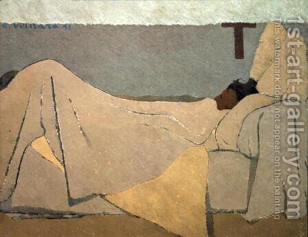 In Bed, Au lit. 1891 by Edouard  (Jean-Edouard) Vuillard - Reproduction Oil Painting