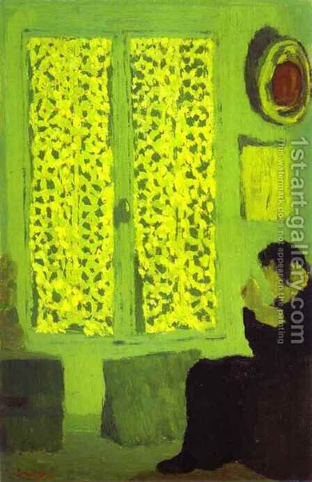 The Green Interior or Figure in front of a Window with Drawn Curtains (L'Interieur vert ou Figure aupres d'une fenetre a rideaux fermes) 1891 by Edouard  (Jean-Edouard) Vuillard - Reproduction Oil Painting