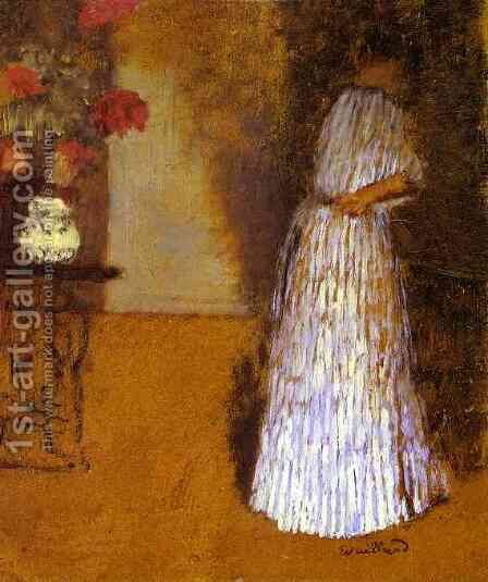 Young Woman in a Room (Jeune femme dans une chambre) c. 1892-93 by Edouard  (Jean-Edouard) Vuillard - Reproduction Oil Painting