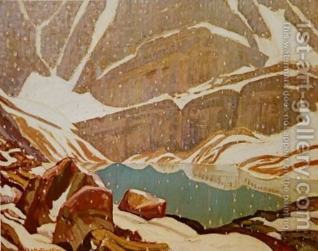 Mountain Snowfall Lake Oesa 1932 by James Edward Hervey MacDonald - Reproduction Oil Painting
