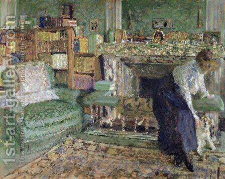 Marguerite Chapin in her Apartment with her dog, 1910 by Edouard  (Jean-Edouard) Vuillard - Reproduction Oil Painting