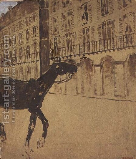 A Horse on the Rue de Rivoli by Edouard  (Jean-Edouard) Vuillard - Reproduction Oil Painting