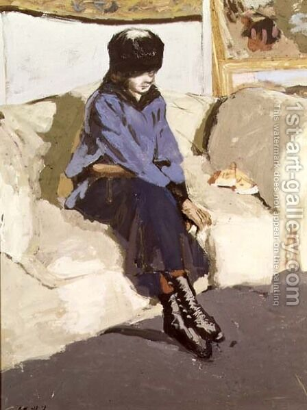 Woman in a blue blouse by Edouard  (Jean-Edouard) Vuillard - Reproduction Oil Painting