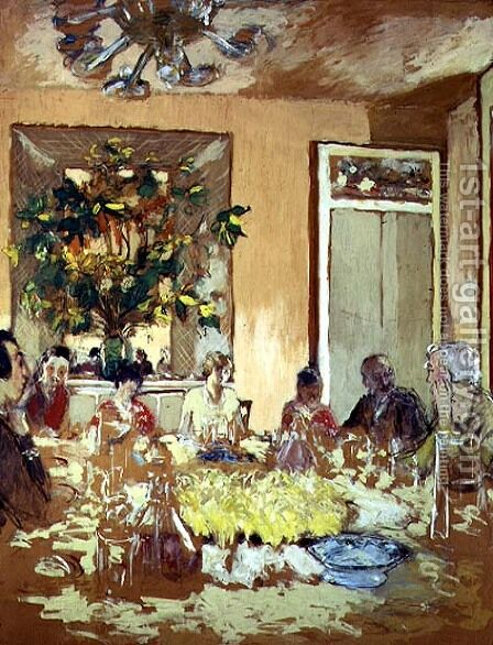 The Dining Room at Chateau de Clayes, 1938 by Edouard  (Jean-Edouard) Vuillard - Reproduction Oil Painting