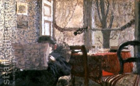 The Newspaper Reader, c.1896-98 by Edouard  (Jean-Edouard) Vuillard - Reproduction Oil Painting