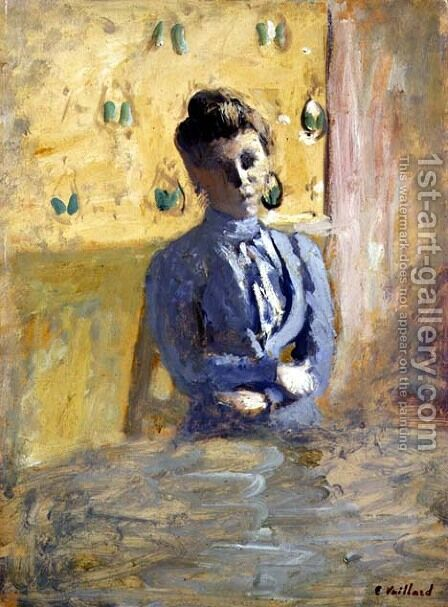 Woman in Blue by Edouard  (Jean-Edouard) Vuillard - Reproduction Oil Painting