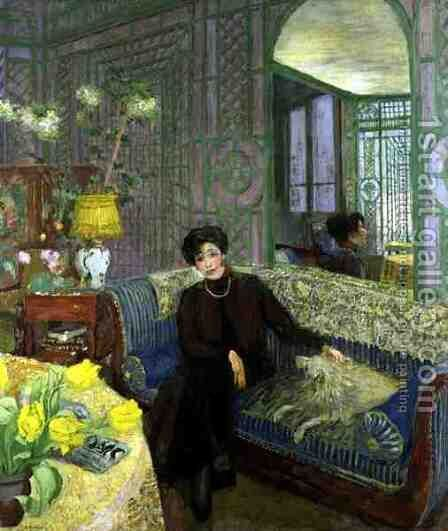 Portrait of Marcelle Aron, wife of Tristan Bernard (1866-1947) 1914 by Edouard  (Jean-Edouard) Vuillard - Reproduction Oil Painting