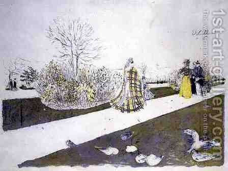 The Garden of the Tuilleries by Edouard  (Jean-Edouard) Vuillard - Reproduction Oil Painting