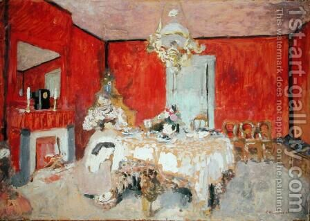 Red Interior, c.1900 by Edouard  (Jean-Edouard) Vuillard - Reproduction Oil Painting
