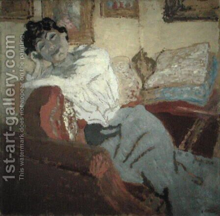 Madame Hessel on the Sofa, 1900 by Edouard  (Jean-Edouard) Vuillard - Reproduction Oil Painting