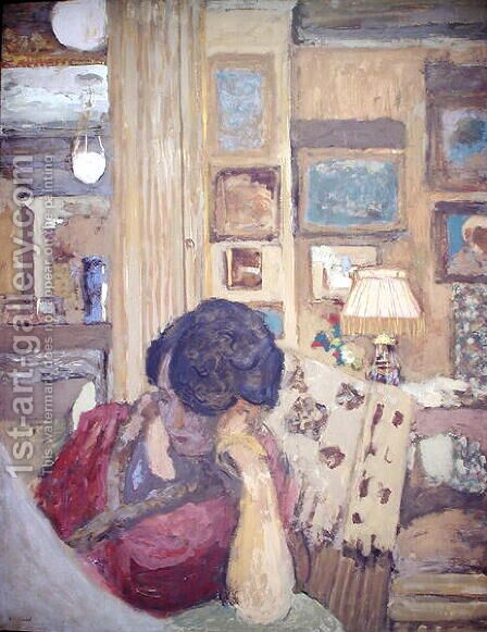 Mme Hessel seated in front of a glassed armoire, 1906 by Edouard  (Jean-Edouard) Vuillard - Reproduction Oil Painting