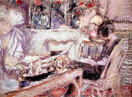 Interior - Mme Hessel at her Home, c.1930 by Edouard  (Jean-Edouard) Vuillard - Reproduction Oil Painting