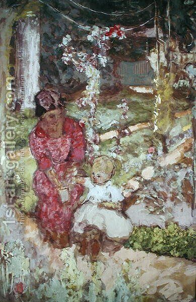 Woman with child in a garden, 1918 by Edouard  (Jean-Edouard) Vuillard - Reproduction Oil Painting