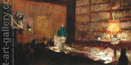 The Green Lamp, c.1898 by Edouard  (Jean-Edouard) Vuillard - Reproduction Oil Painting