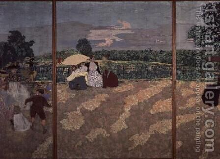 The Public Gardens: The Nurses, The Conversation and The Red Umbrella, 1894 by Edouard  (Jean-Edouard) Vuillard - Reproduction Oil Painting