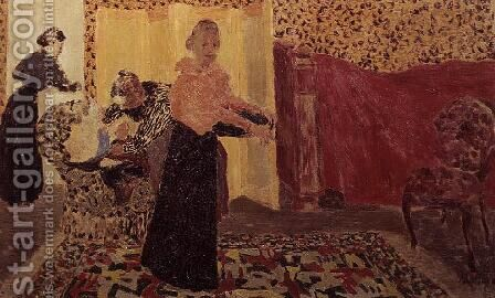 Three Women in an Interior with Rose Wallpaper, 1895 by Edouard  (Jean-Edouard) Vuillard - Reproduction Oil Painting