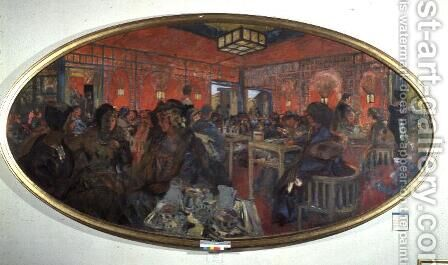 The Tea Room in the Grand Teddy, 1918-9 by Edouard  (Jean-Edouard) Vuillard - Reproduction Oil Painting