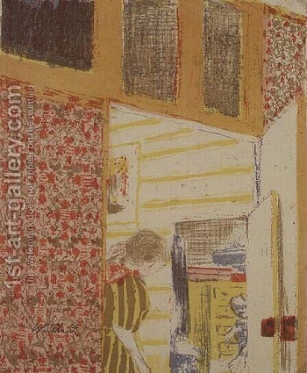 Interior in Shades of Pink III by Edouard  (Jean-Edouard) Vuillard - Reproduction Oil Painting