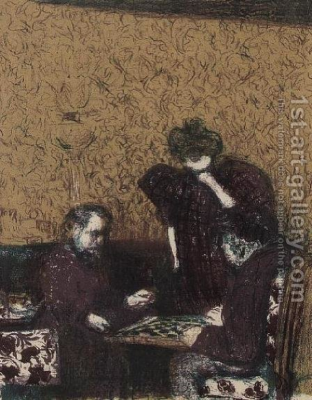 Game of Draughts by Edouard  (Jean-Edouard) Vuillard - Reproduction Oil Painting
