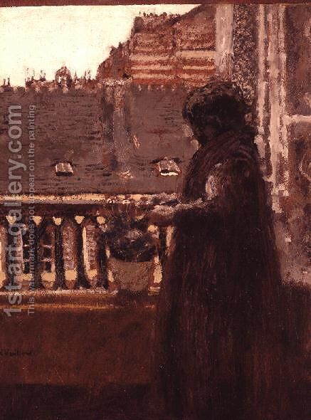 Madame Vuillard on her Balcony, c.1899 by Edouard  (Jean-Edouard) Vuillard - Reproduction Oil Painting