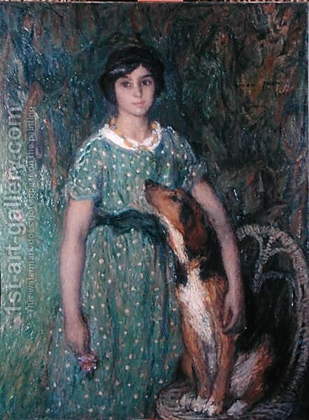 Young girl with a dog, 1913 by Edmond-Francois Aman-Jean - Reproduction Oil Painting