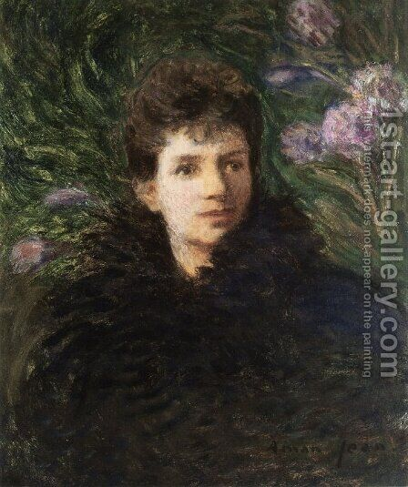 Young Woman with Violets, c.1910 by Edmond-Francois Aman-Jean - Reproduction Oil Painting