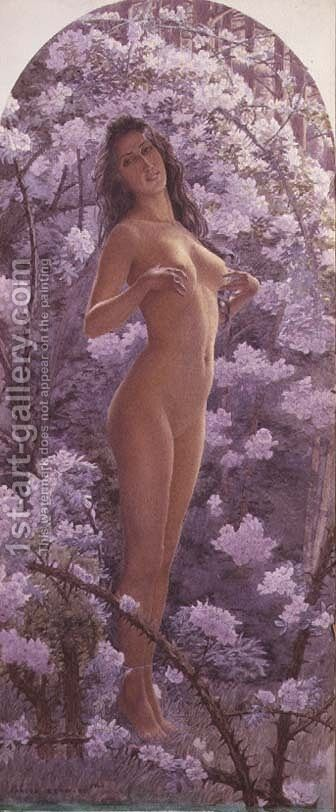 Nude Amongst Flowers by Carlos Schwabe - Reproduction Oil Painting