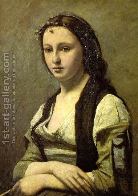 Woman with a Pearl by Jean-Baptiste-Camille Corot - Reproduction Oil Painting