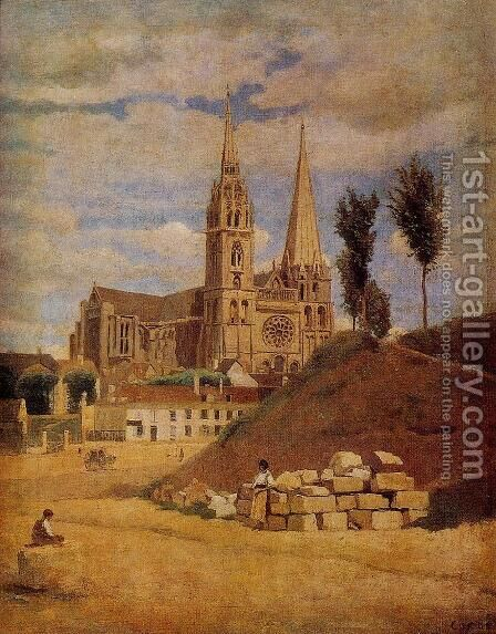 Chartres Cathedral, 1830 by Jean-Baptiste-Camille Corot - Reproduction Oil Painting