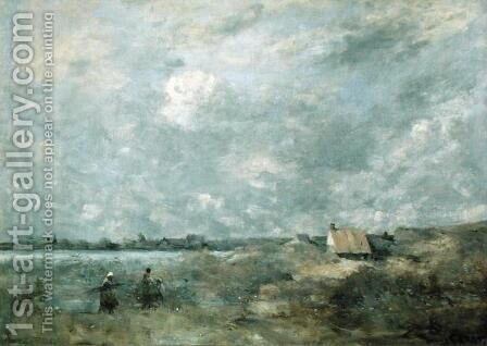 Stormy Weather, Pas de Calais, c.1870 by Jean-Baptiste-Camille Corot - Reproduction Oil Painting