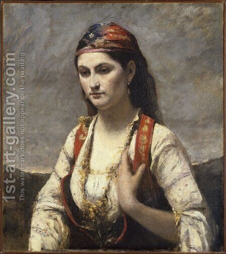 The Young Woman of Albano, 1872 by Jean-Baptiste-Camille Corot - Reproduction Oil Painting