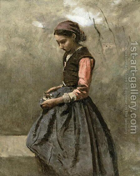 A Pensive Girl, c.1865 by Jean-Baptiste-Camille Corot - Reproduction Oil Painting