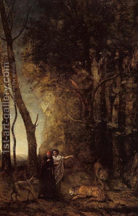 Dante and Virgil by Jean-Baptiste-Camille Corot - Reproduction Oil Painting