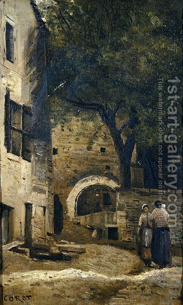 A village scene by Jean-Baptiste-Camille Corot - Reproduction Oil Painting