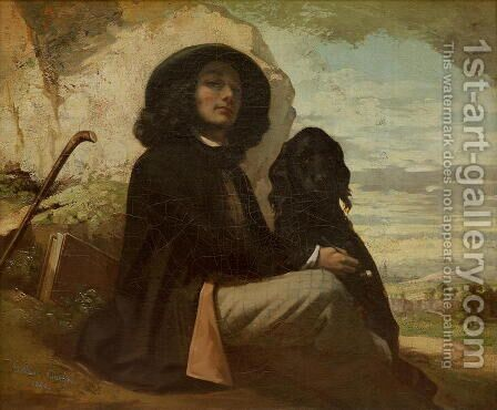 Courbet with his Black Dog, 1842 by Gustave Courbet - Reproduction Oil Painting