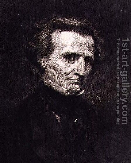 Portrait of Hector Berlioz (1803-69) engraved by A. Gilbert, pub. in the 'Gazette des Beaux-Arts' by Gustave Courbet - Reproduction Oil Painting