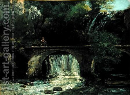 Landscape with bridge by Gustave Courbet - Reproduction Oil Painting