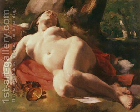 La Bacchante, c.1844-47 by Gustave Courbet - Reproduction Oil Painting